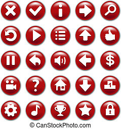 botões, jogo, jogo, vermelho
