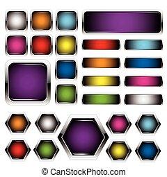 botões, jogo, metal, coloridos