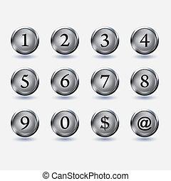 botões, jogo, número