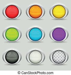 botões, jogo, nove, redondo