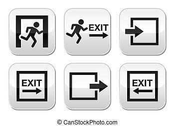 botões, jogo, saída, emergência, vetorial