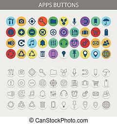 botões, jogo, vetorial, apps, ícones