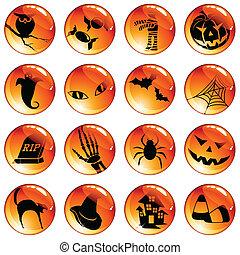 botões, laranja, jogo, dia das bruxas, 16