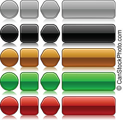 botões, lavrado, metálico, em branco