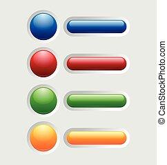 botões, lustroso, coloridos
