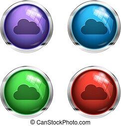 botões, lustroso, nuvem