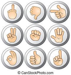 botões, mãos