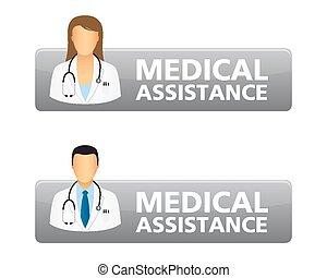 botões, médico, pedido, assistência