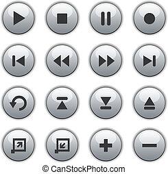 botões, mídia, branca, lustroso