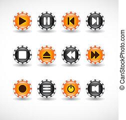 botões, mídia, icons.