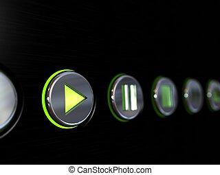 botões, mídia, jogador