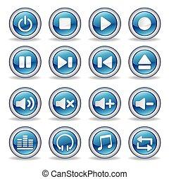 botões, mídia, lustroso, jogador