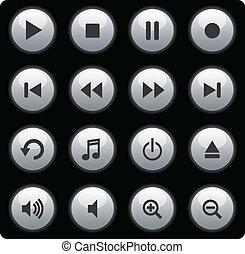botões, mídia, prata