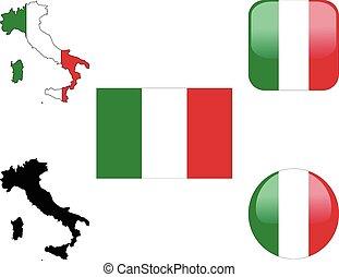 botões, mapa, bandeira, itália