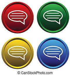 botões, mensagem, quatro