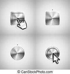 botões, metálico