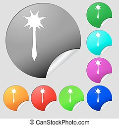 botões, multi, jogo, colorido, sinal., macis, vetorial, oito, stickers., redondo, ícone