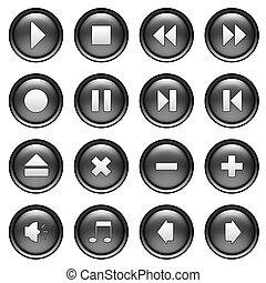 botões, multimedia