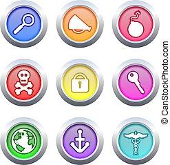 botões, objeto