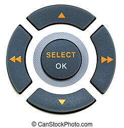 botões, ok, selecione