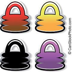 botões, padlock, vetorial
