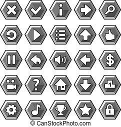 botões, pedra, jogo