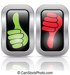 botões, positivo, votando, negativo