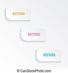 botões, progresso, branca, vetorial, em branco
