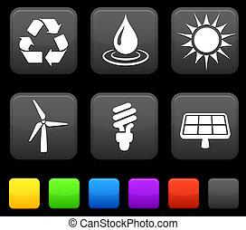 botões, quadrado, natureza, ícones, meio ambiente, internet