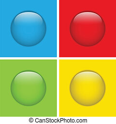 botões, quatro, círculo, jogo, vidro