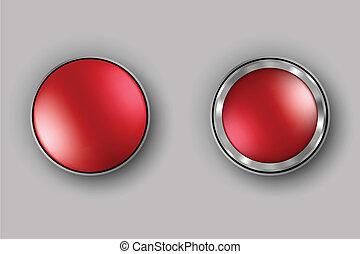 botões, realístico, vetorial, dois, vermelho