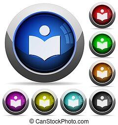 botões, redondo, biblioteca, lustroso