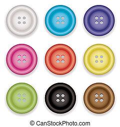 botões, roupas, ícones
