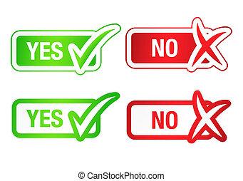 botões, sim, &, checmarks, não