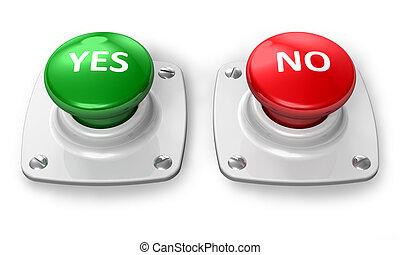 botões, sim, não