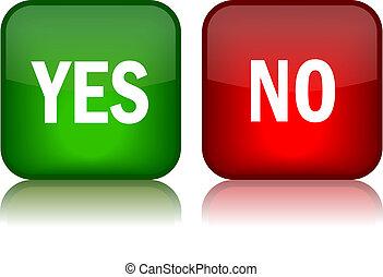 botões, sim, vetorial, não