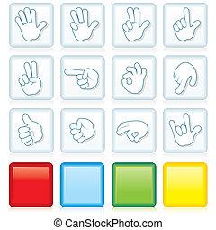 botões, sinais mão