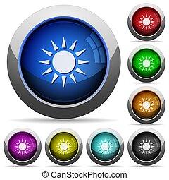 botões, sol, redondo, lustroso