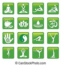 botões, spa, ioga, massagem