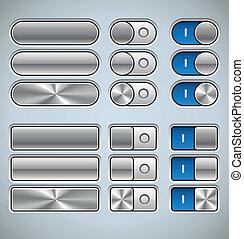 botões, switchers, metal