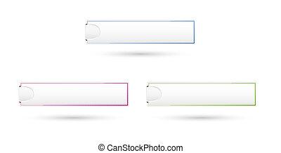 botões, tag, em branco