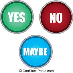 botões, talvez, sim, não