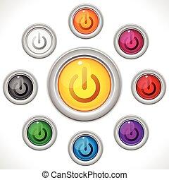 botões, teia, cores, desligado