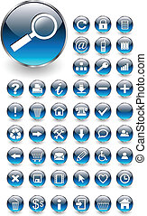 botões, teia, jogo, ícones