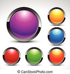 botões, teia, jogo, brilhante, vetorial