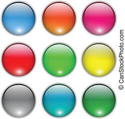 botões, teia, jogo, em branco