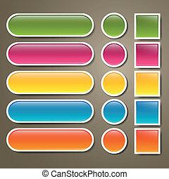botões, teia, jogo, vetorial, em branco