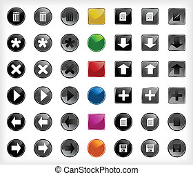 botões, teia, jogo, vetorial, icons.
