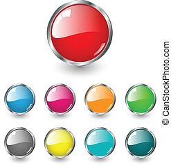 botões, teia, lustroso, em branco