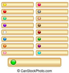 botões, teia, ouro